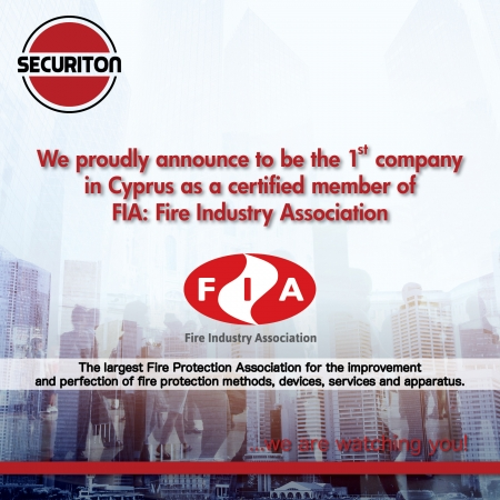 1st company in Cyprus as a certified member of FIA: Fire Industry Association